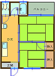 ニューハイツ道成寺[203号室]の間取り