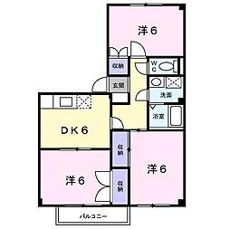 愛知県岡崎市舳越町字宮前の賃貸アパートの間取り