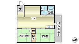 兵庫県姫路市広峰1丁目の賃貸マンションの間取り