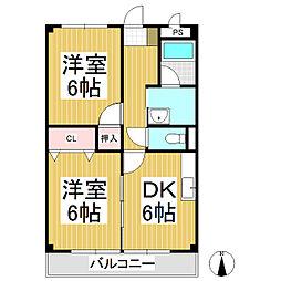 プリエール・ド・リラ 1階2DKの間取り