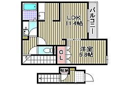 エトワール桜 2階1LDKの間取り