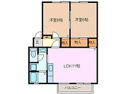 三重県桑名市大字西別所の賃貸アパートの間取り