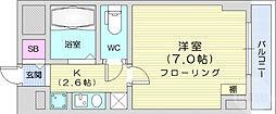 仙台市地下鉄東西線 川内駅 徒歩14分の賃貸マンション 4階1Kの間取り