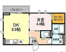 東京都大田区久が原3丁目の賃貸アパートの間取り