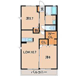 和歌山県和歌山市冬野の賃貸アパートの間取り