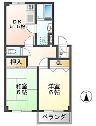 静岡県三島市本町の賃貸アパートの間取り