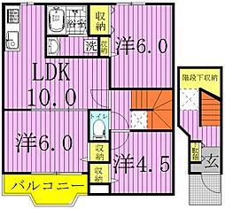 千葉県白井市西白井4丁目の賃貸アパートの間取り