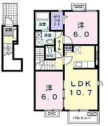 香川県さぬき市長尾西の賃貸アパートの間取り