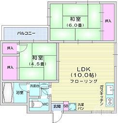 JR仙山線 東照宮駅 徒歩13分の賃貸マンション 3階2LDKの間取り