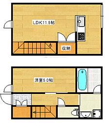 JR久大本線 久留米高校前駅 徒歩16分の賃貸アパート 1階1LDKの間取り