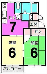 ドミシール平野5[204号室]の間取り