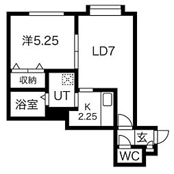 VivaceIII(ヴィヴァーチェ3) 3階1LDKの間取り