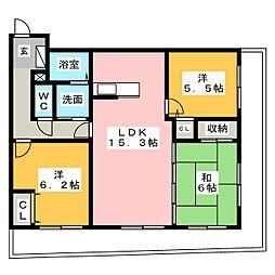 ライフ第5マンション大平台[5階]の間取り