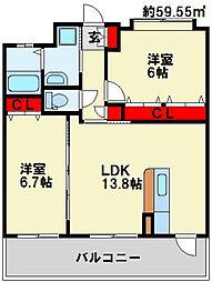 フェルト127[5階]の間取り