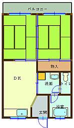 西沼ハイツ 2階2DKの間取り