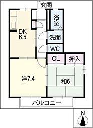 GRACE COURT B棟[1階]の間取り