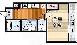 阪急今津線 宝塚駅 徒歩7分の賃貸マンション 2階1Kの間取り