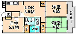兵庫県伊丹市大鹿2丁目の賃貸マンションの間取り