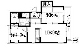 セジュール甲東2[2階]の間取り