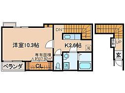 JR奈良線 JR藤森駅 徒歩2分の賃貸アパート 2階1Kの間取り