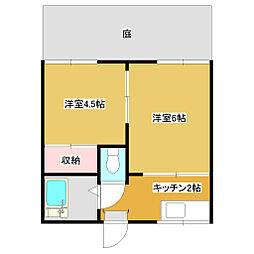 谷田部コーポ[102号室]の間取り