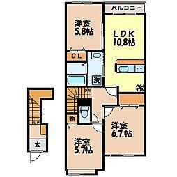 長与町新築アパート(仮)[2階]の間取り