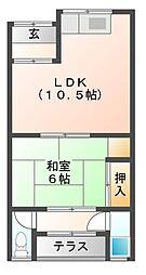 東阪田アパート[1階]の間取り