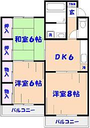 菅野グリーンハイツ[3階]の間取り