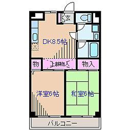 フィットネス大倉山 3階2DKの間取り