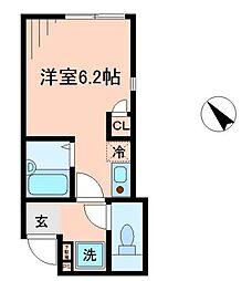 JR中央線 国立駅 徒歩10分の賃貸アパート 1階ワンルームの間取り