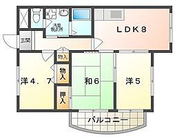 アペックスハイム守口 3階3DKの間取り