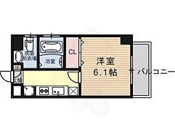 エステムプラザ京都ステーションレジデンシャル 4階1Kの間取り