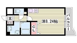 神戸市西神・山手線 伊川谷駅 徒歩6分の賃貸マンション 3階ワンルームの間取り