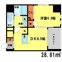 ソアエサカイースト 5階1DKの間取り