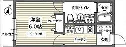 ベルメント東逆井[202号室号室]の間取り