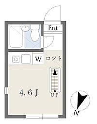 横浜市営地下鉄ブルーライン 横浜駅 徒歩20分の賃貸アパート 1階ワンルームの間取り