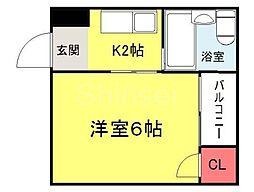 大阪府堺市堺区甲斐町東4丁の賃貸マンションの間取り
