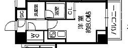 Osaka Metro長堀鶴見緑地線 西長堀駅 徒歩3分の賃貸マンション 6階ワンルームの間取り