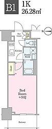 JR総武線 飯田橋駅 徒歩5分の賃貸マンション 10階1Kの間取り