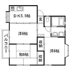 静岡県浜松市中区広沢2丁目の賃貸アパートの間取り