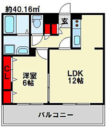 フェリシエ三萩野[3階]の間取り