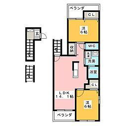 愛知県名古屋市瑞穂区大喜町4丁目の賃貸アパートの間取り