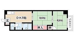 愛知県名古屋市昭和区菊園町6丁目の賃貸マンションの間取り