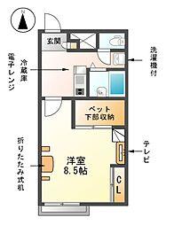 愛知県海部郡蟹江町学戸6丁目の賃貸アパートの間取り