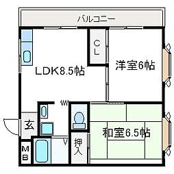 大塚チェリーハイツ12[3階]の間取り