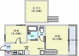 仙台市営南北線 長町南駅 徒歩10分の賃貸アパート 1階2Kの間取り