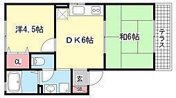 兵庫県神戸市灘区将軍通3丁目の賃貸アパートの間取り
