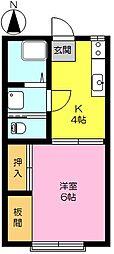 コーポ吉岡(家具家電付)[2階]の間取り