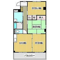 愛知県名古屋市中川区かの里3丁目の賃貸マンションの間取り