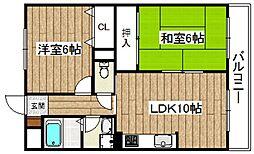大阪府高槻市大蔵司3丁目の賃貸マンションの間取り